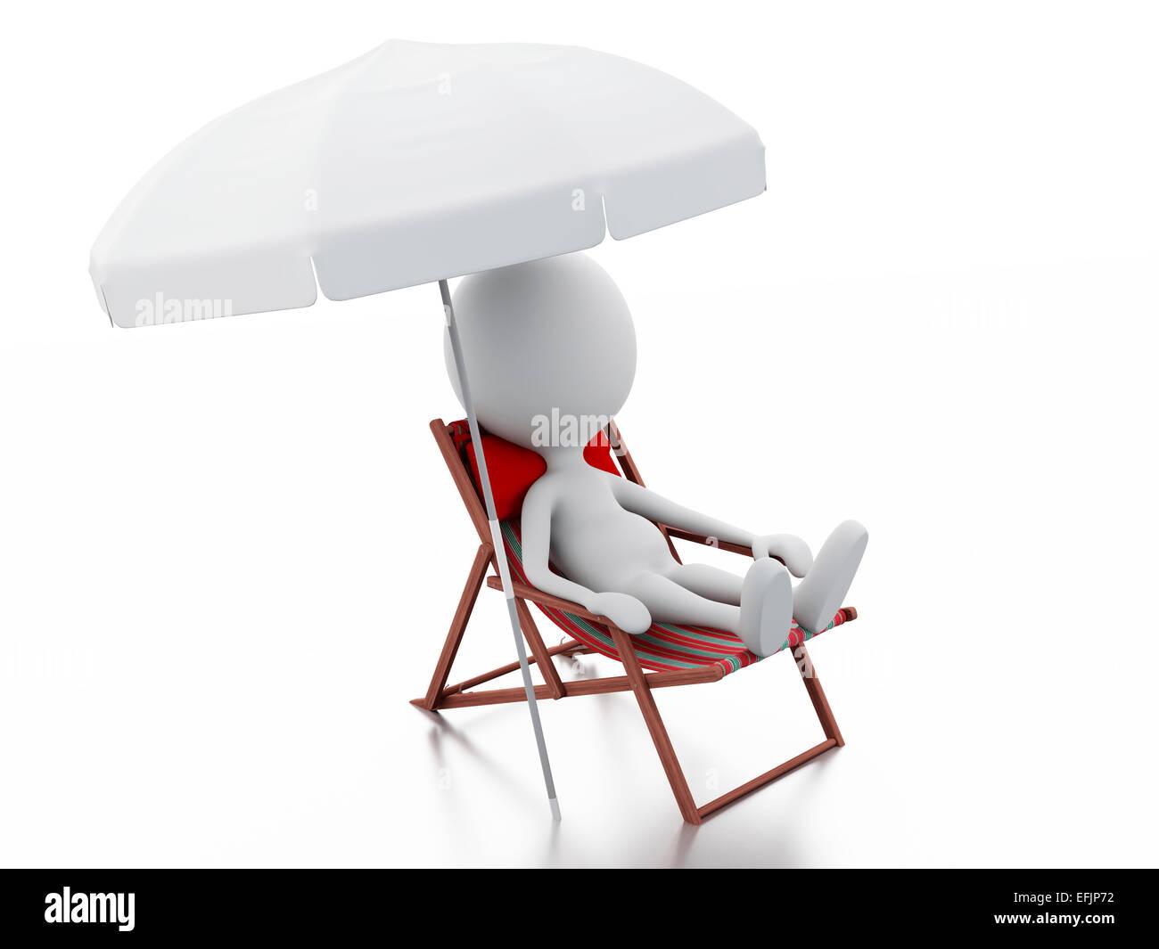 Imagen 3d. La gente blanca relajada en una silla de playa. Concepto de  vacaciones 4ee61d775f0d