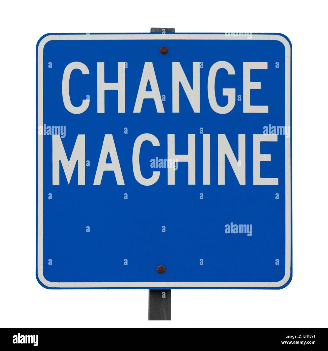 Cartel con cambio de signo máquina junto a una máquina de cambio de moneda. Concepto, señal azul Imagen De Stock
