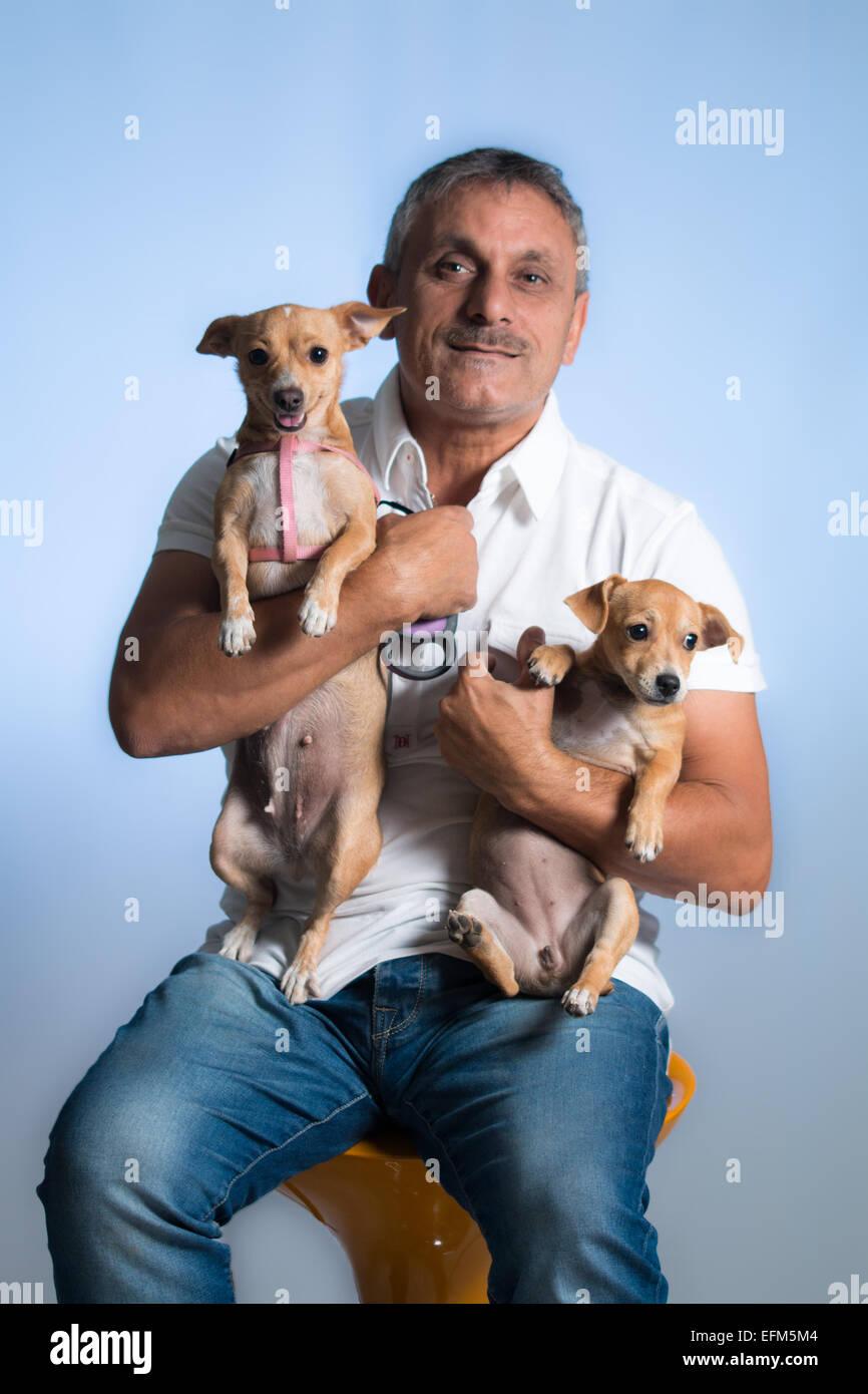 Hombre y perro Imagen De Stock