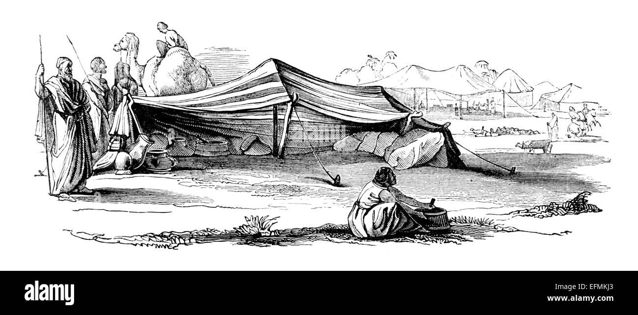 Victorian grabado de un campamento de caravanas árabes en el Sahara, África Foto de stock