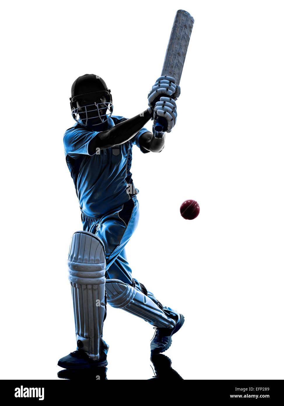 Jugador de cricket del bateador en silueta sombra sobre fondo blanco. Imagen De Stock