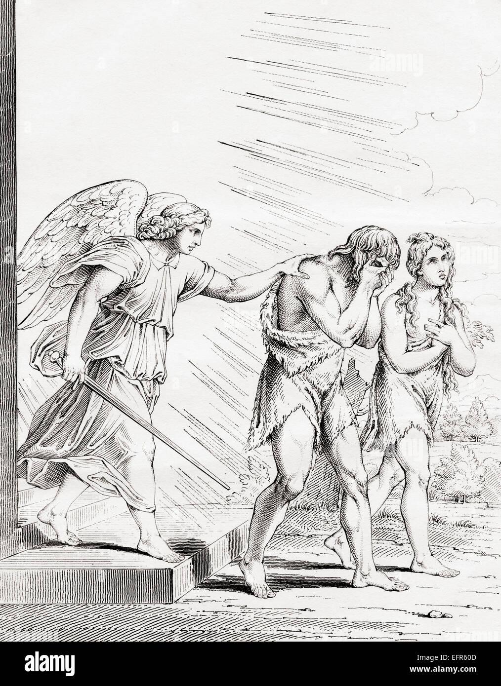Adán Y Eva Expulsados Del Paraíso Desde El Siglo Xix