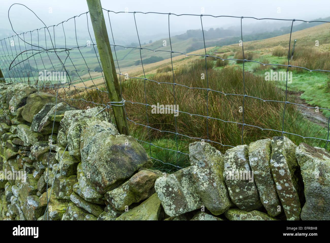 Cercas de alambre y un muro de piedra, Derbyshire Peak District National Park, Inglaterra, Reino Unido. Imagen De Stock