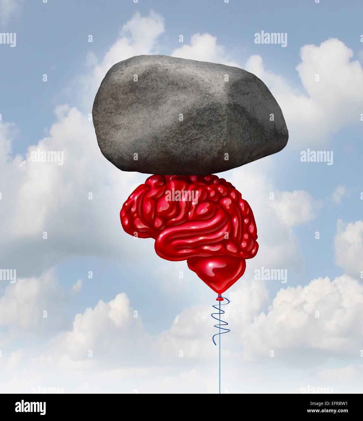 Concepto de potencia cerebral como un globo rojo en forma de un pensamiento humano organ levantando un rock pesado Imagen De Stock