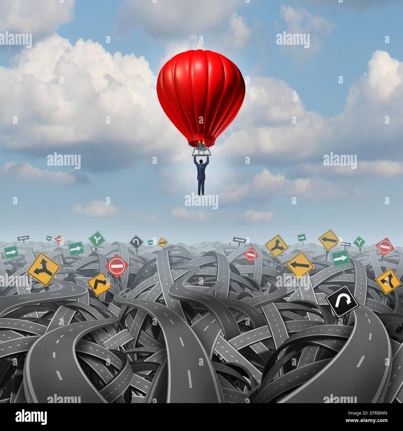 Camino fácil elevarse por encima de la confusión con el concepto de liderazgo de un empresario en un globo Imagen De Stock
