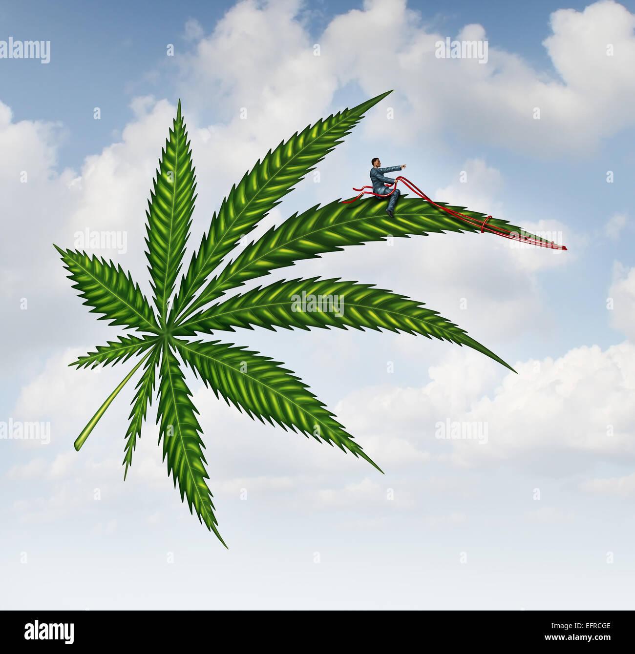 Concepto de marihuana y cannabis hojas volando alto con una persona guiando la planta medicinal como un símbolo Imagen De Stock