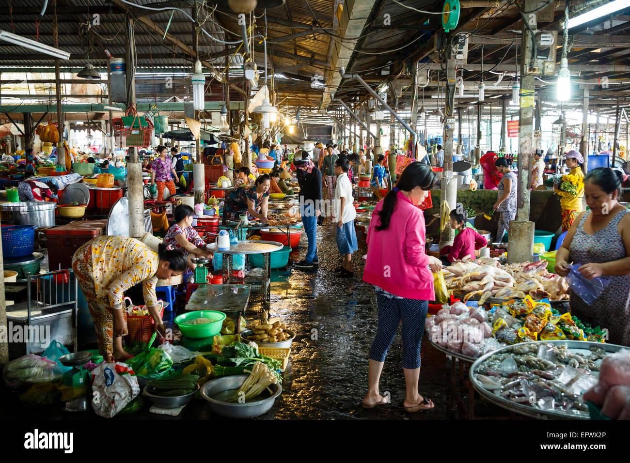 Mercado de Can Tho, en el Delta del Mekong, Vietnam Imagen De Stock