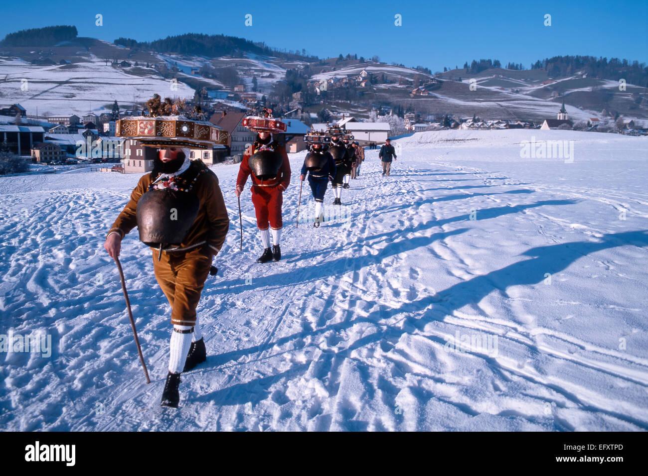 Suiza, Appenzell, el tradicional rito de la víspera de Año Nuevo el 13 de enero, Sylvesterklaeuse con Imagen De Stock