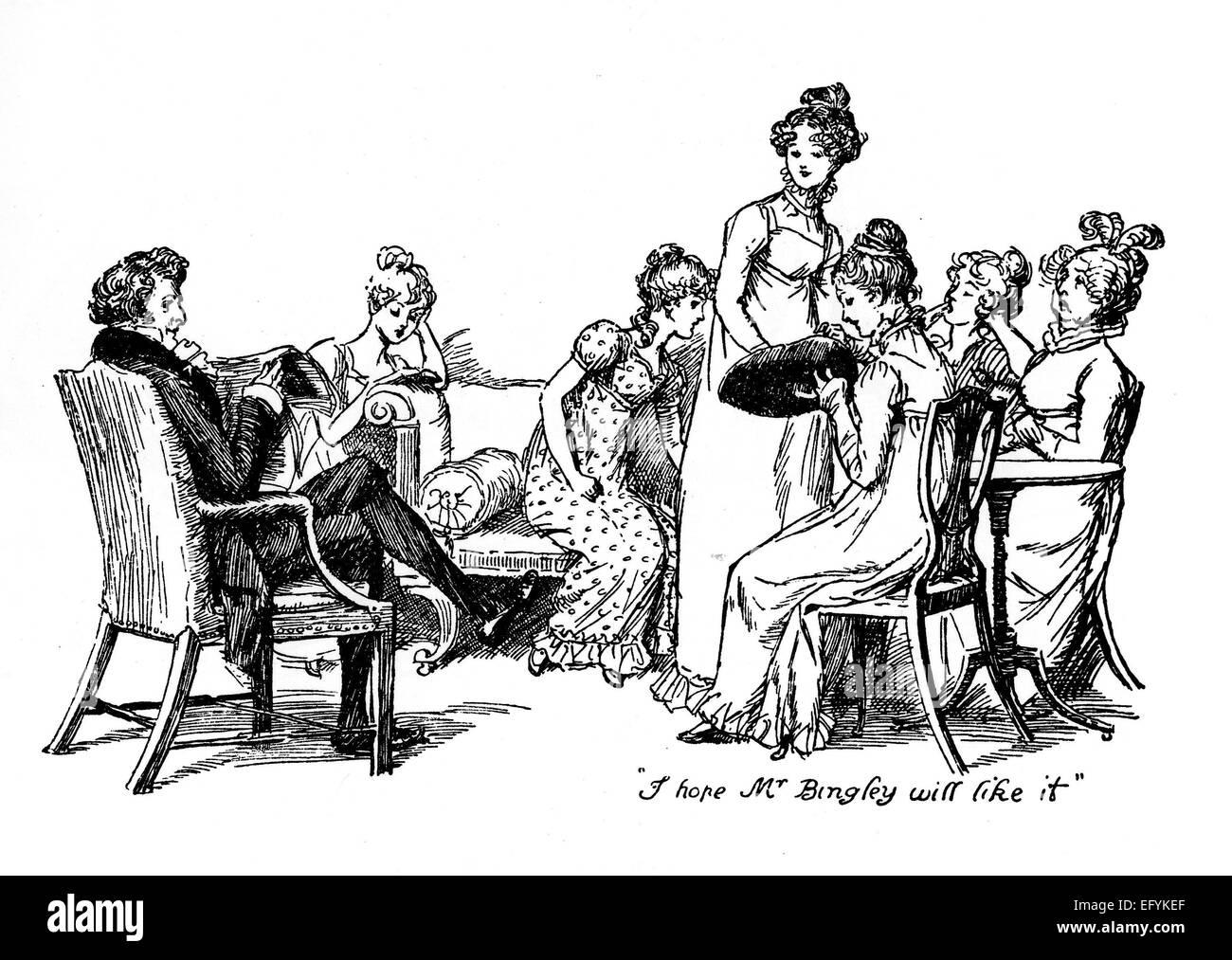 Orgullo y prejuicio Hugh Thompson ilustración para una edición de 1894 de la novela de Jane Austen Muestra Imagen De Stock