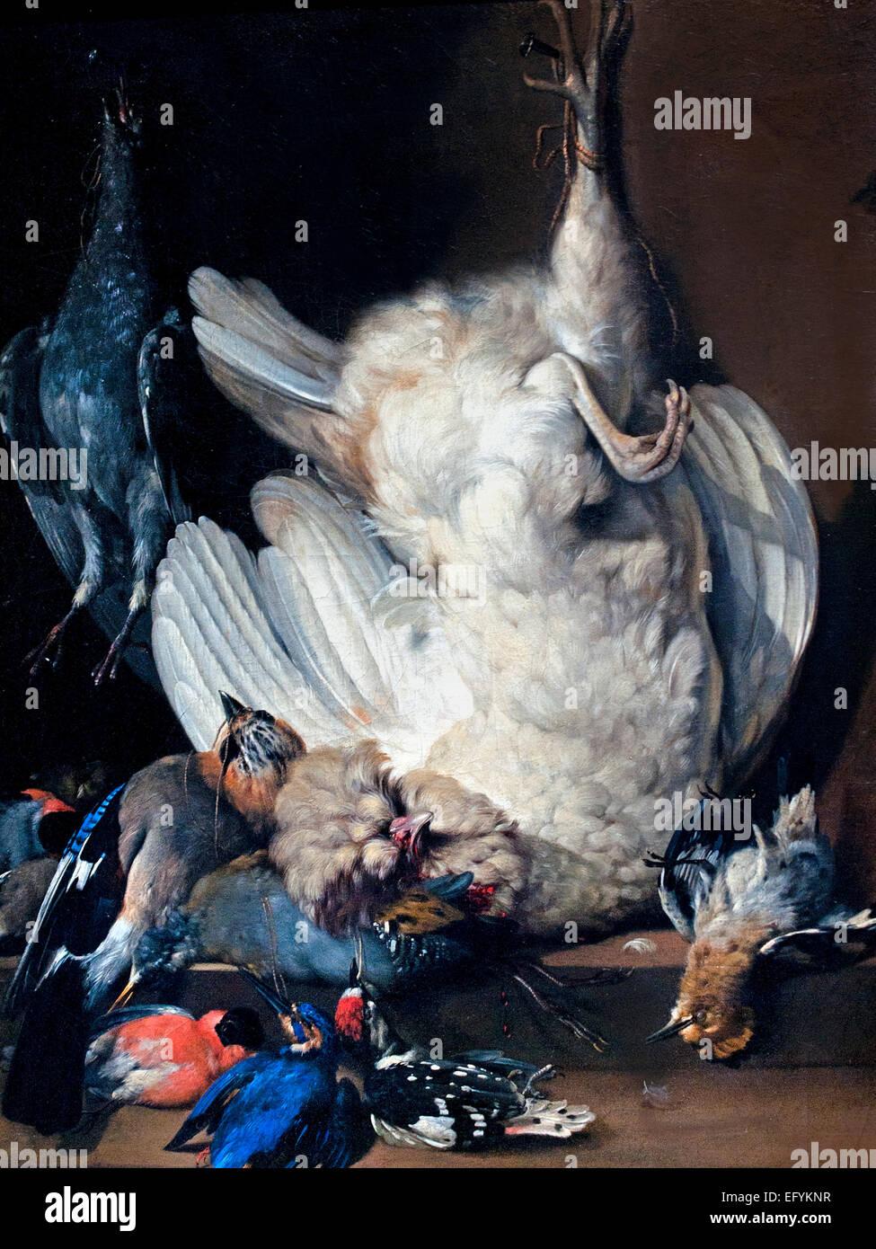Bodegón con aves de corral muertas 1676 Johann Heinrich Roos 1631-1685 alemán Alemania Imagen De Stock