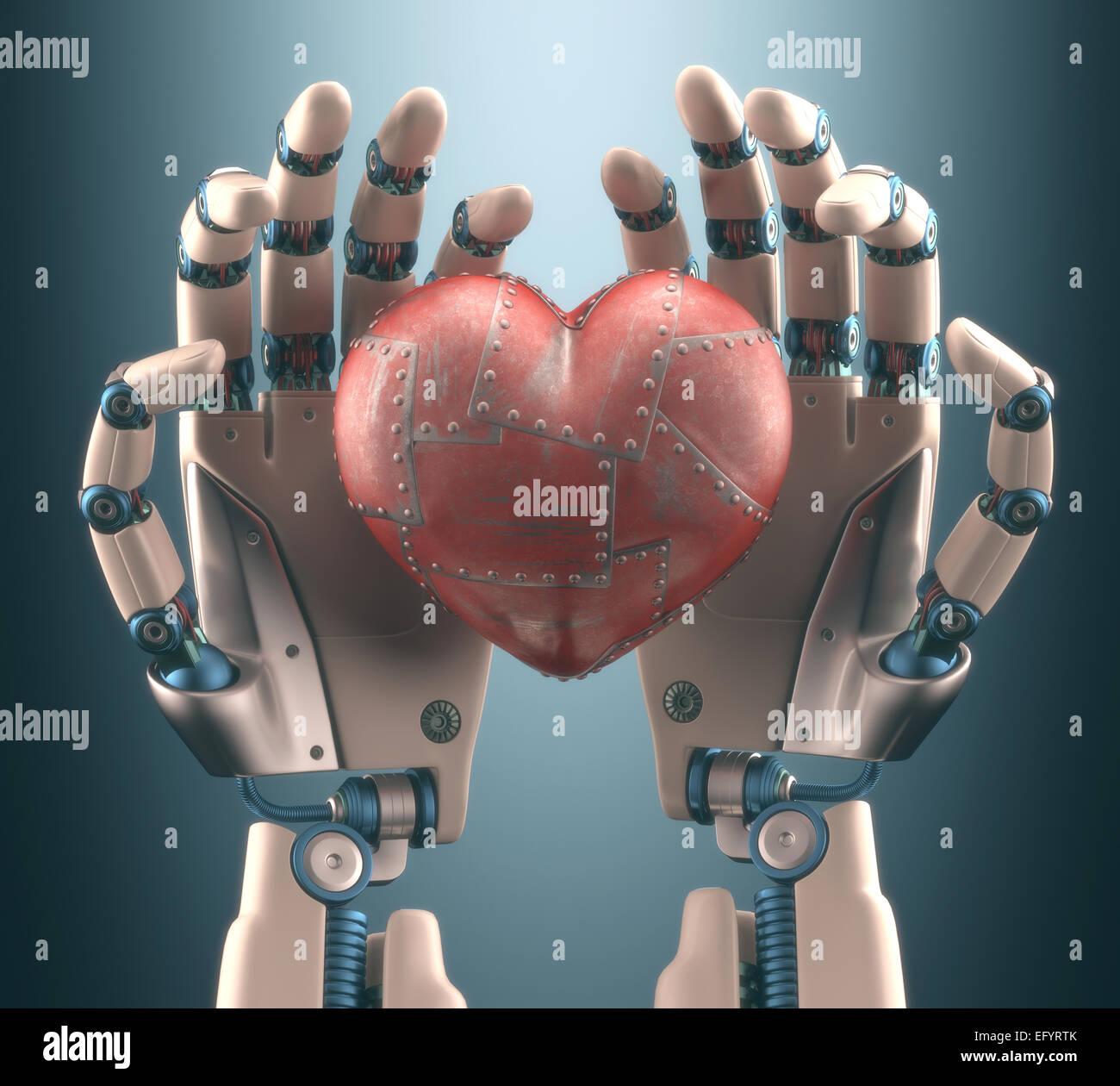 Robot mano sujetando un corazón de metal. Trazado de recorte incluido. Imagen De Stock