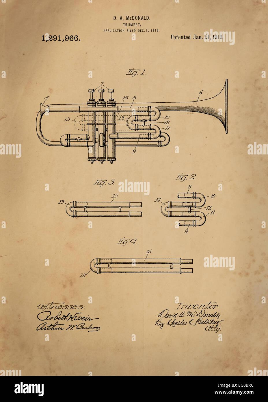 Trompeta patente desde 1919 Vintage ilustraciones patentes gran presentación en ambos ajustes personales y corporativas oficinas ie/ clubes/ volver Foto de stock