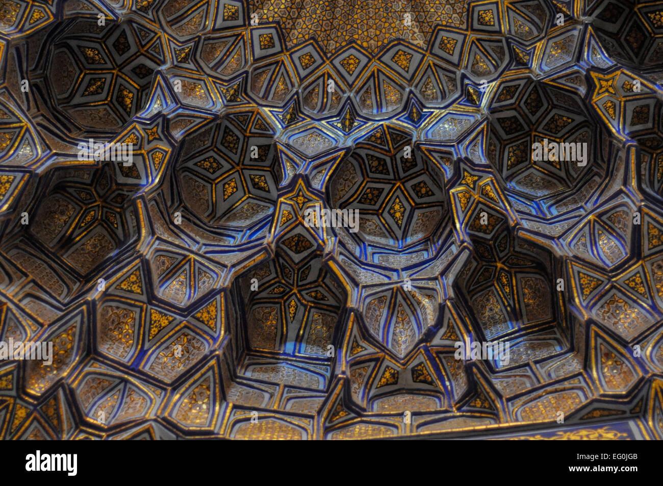 Texturas bellas en las paredes de la mezquita en Samarcanda, Uzbekistán Imagen De Stock