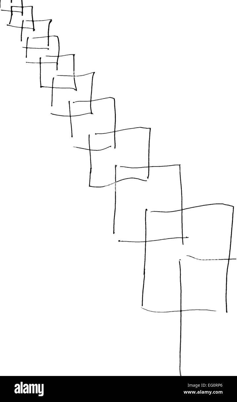 Cajas, dibujadas a mano de una manera abstracta. A partir de pequeñas y, a continuación, convertirse en Imagen De Stock