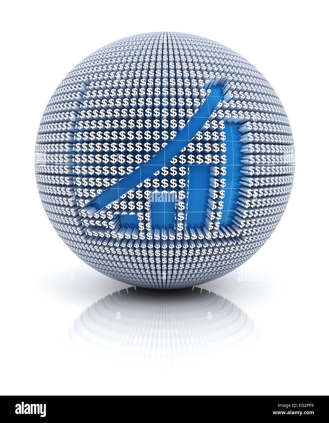 Icono gráfico en el mundo formado por el signo del dólar, 3D Render Imagen De Stock