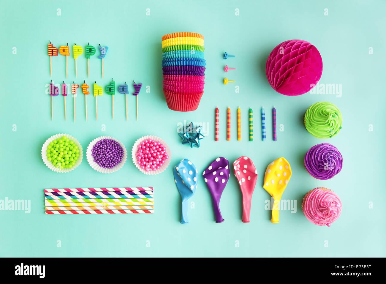 Vista aérea de la fiesta de cumpleaños de colección de objetos Imagen De Stock