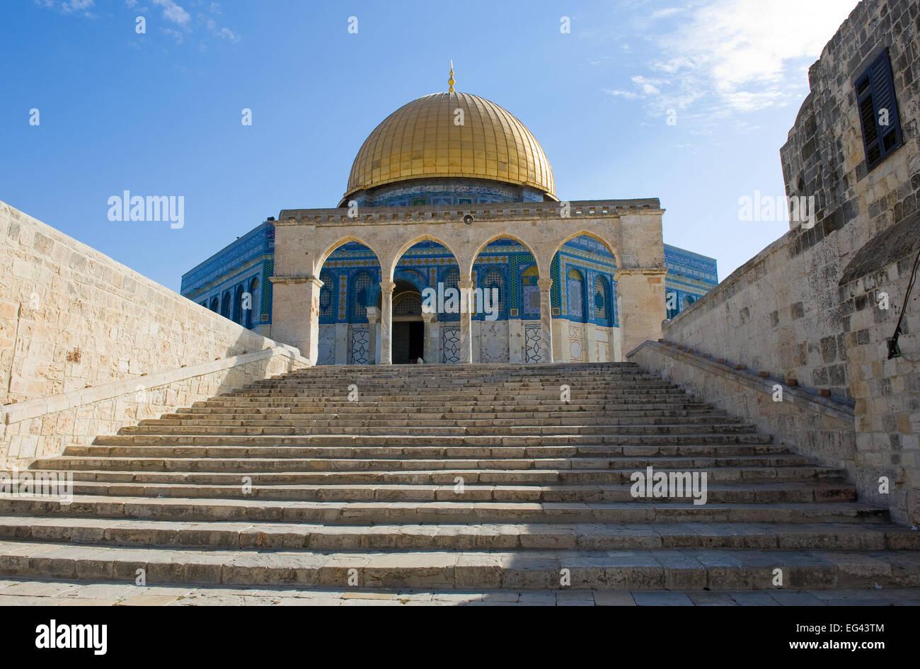 La cúpula de la roca en el Monte del Templo en Jerusalén Foto de stock