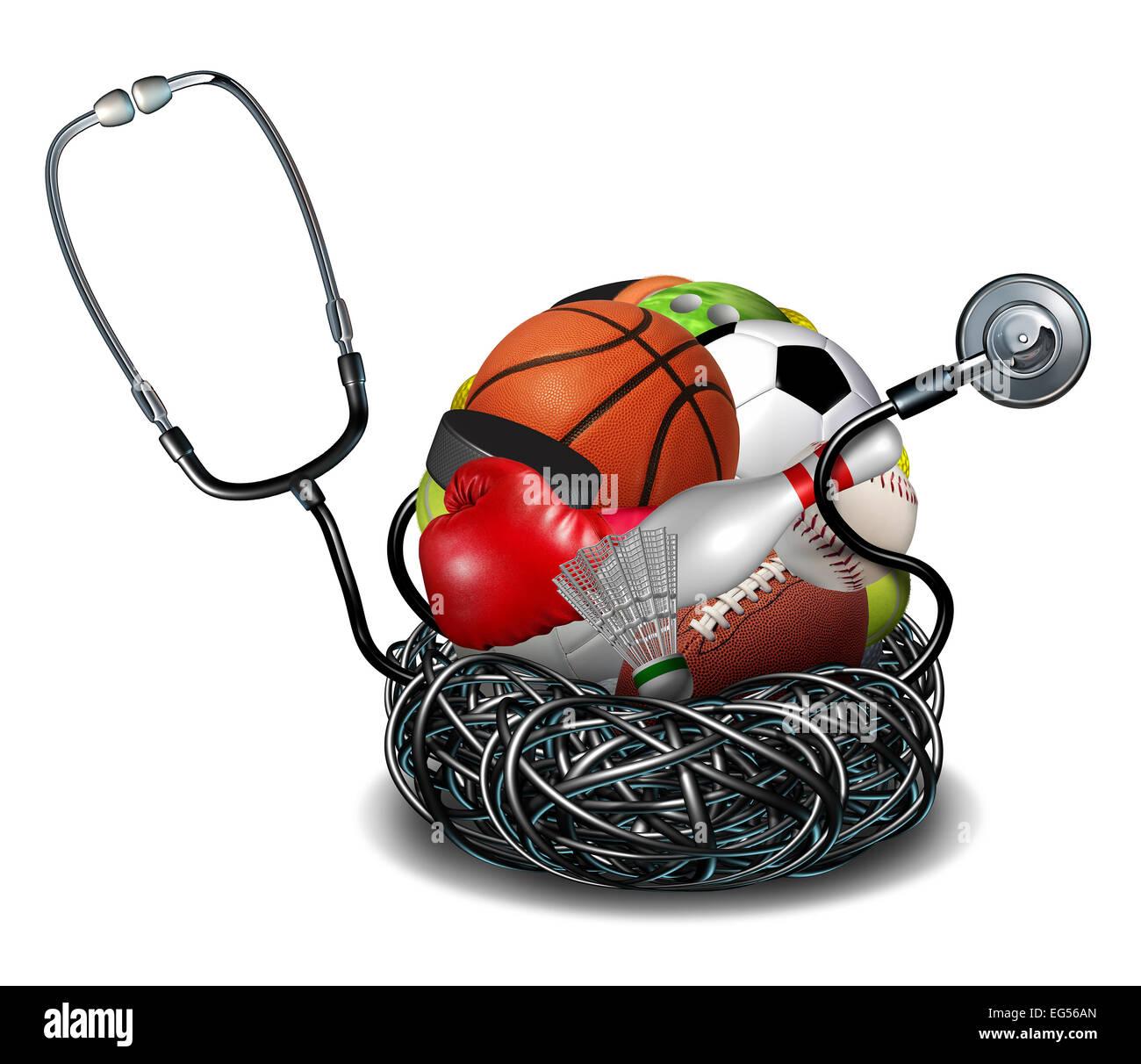 Concepto de medicina deportiva de atletismo y símbolo de atención médica como médico estetoscopio Imagen De Stock