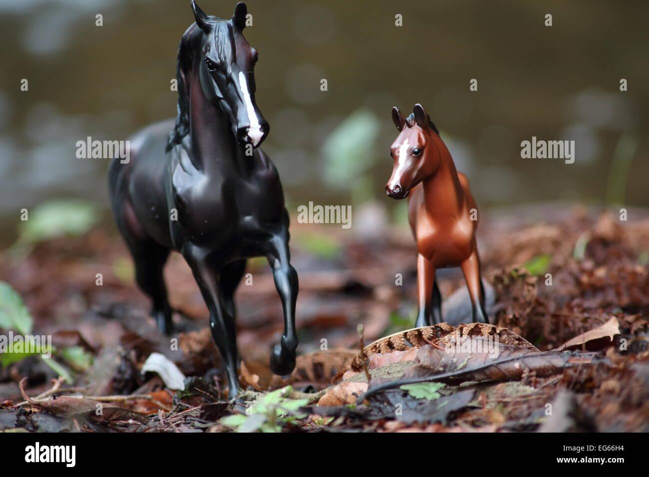 Un enmarcado y compuesto de tiro de dos caballos todavía la vida ...