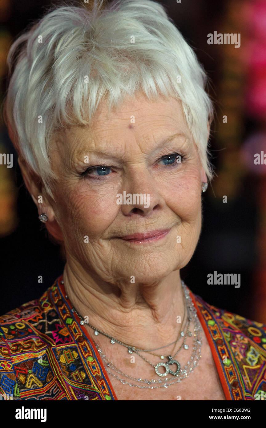 Londres, Reino Unido. 17 Feb, 2015. Dame Judi Dench asiste a la Royal Film Performance: el estreno mundial de la segunda mejor exótico hotel Marigold en 17/02/2015 en el Odeon de Leicester Square, Londres. Crédito: Julie Edwards/Alamy Live News Foto de stock