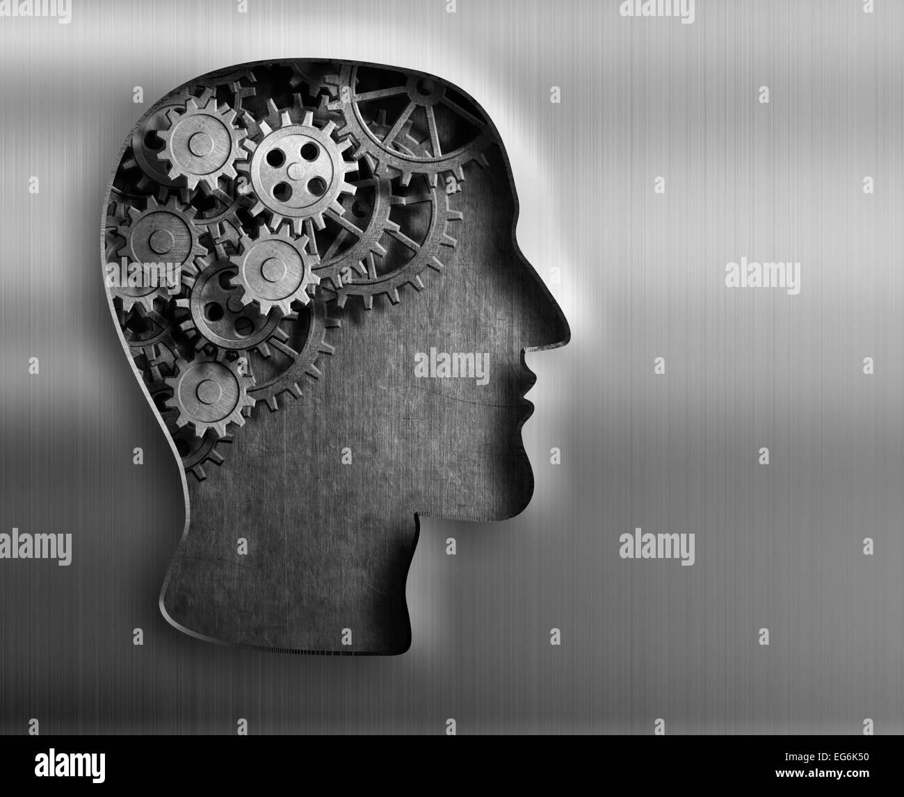 Modelo de cerebro de piñones y engranajes de placa de metal. Imagen De Stock
