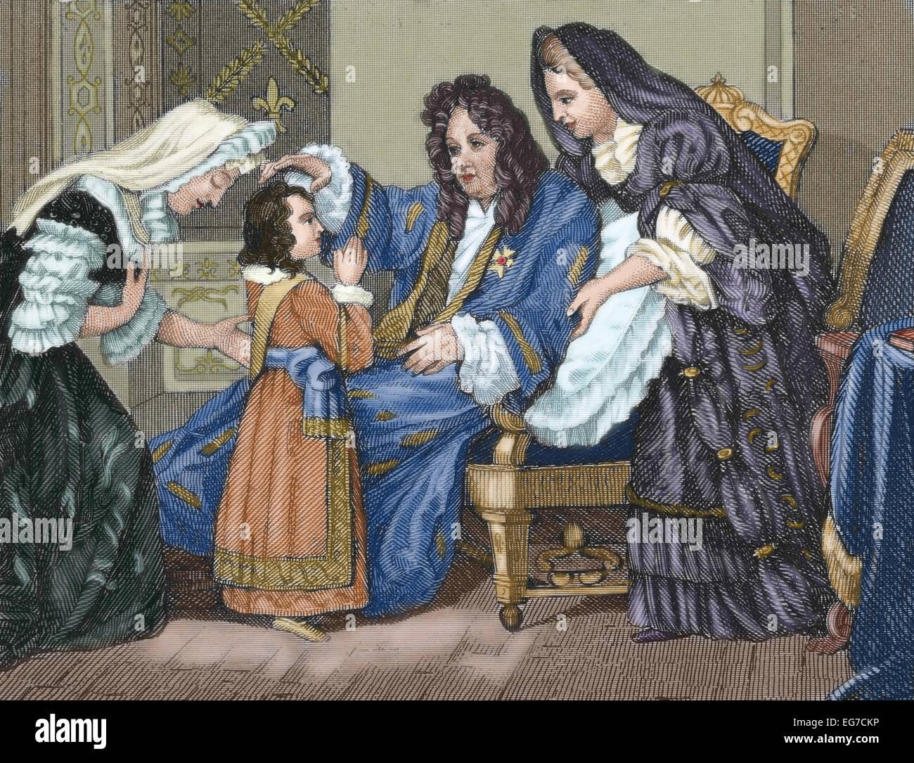 Louis XIV (1638-1715), rey de Francia, con su nieto. Grabado. Coloreada. Foto de stock
