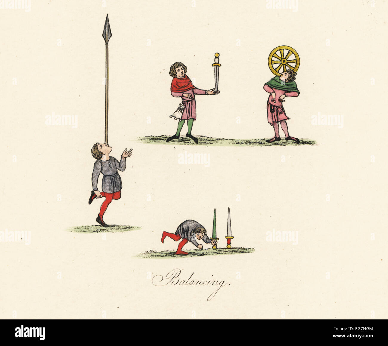 Actos de equilibrio medieval y malabaristas. Foto de stock