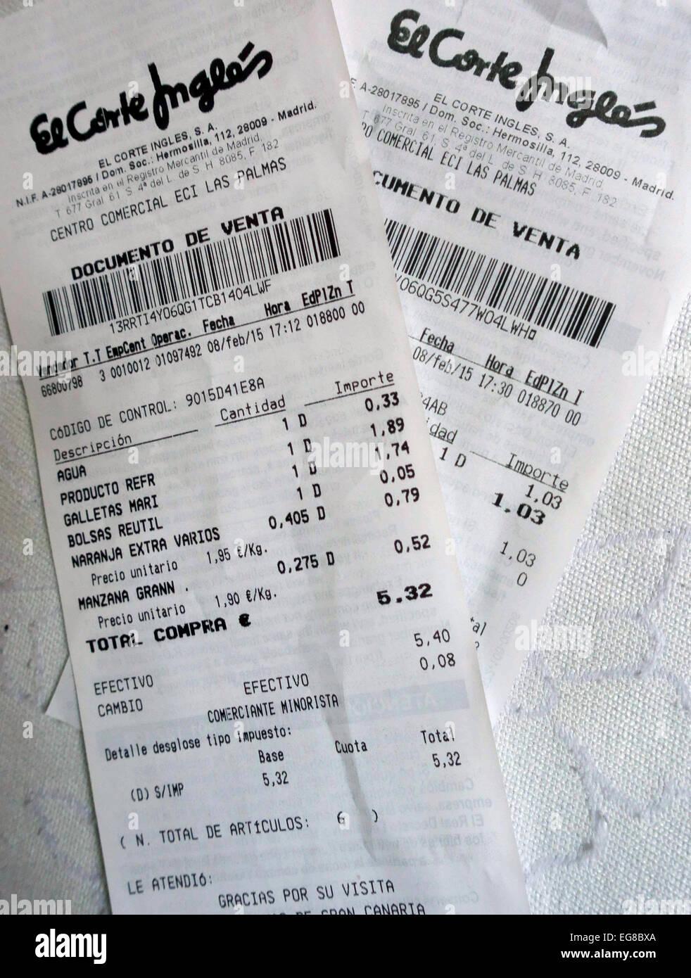 475b20fb8298 Los recibos de compras en El Corte Inglés, Gran Canaria, España Foto ...