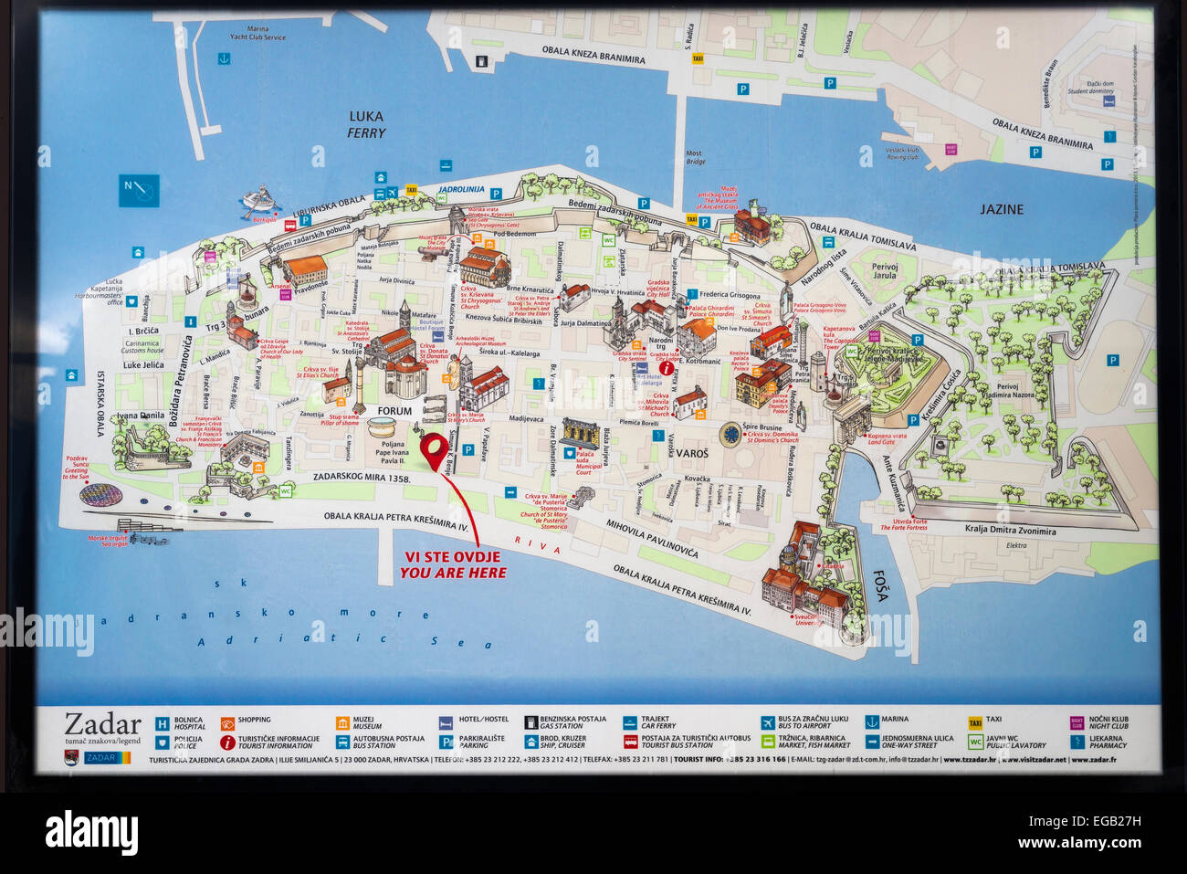 Mapa Del Casco Antiguo De La Ciudad De Zadar La Costa Dalmata