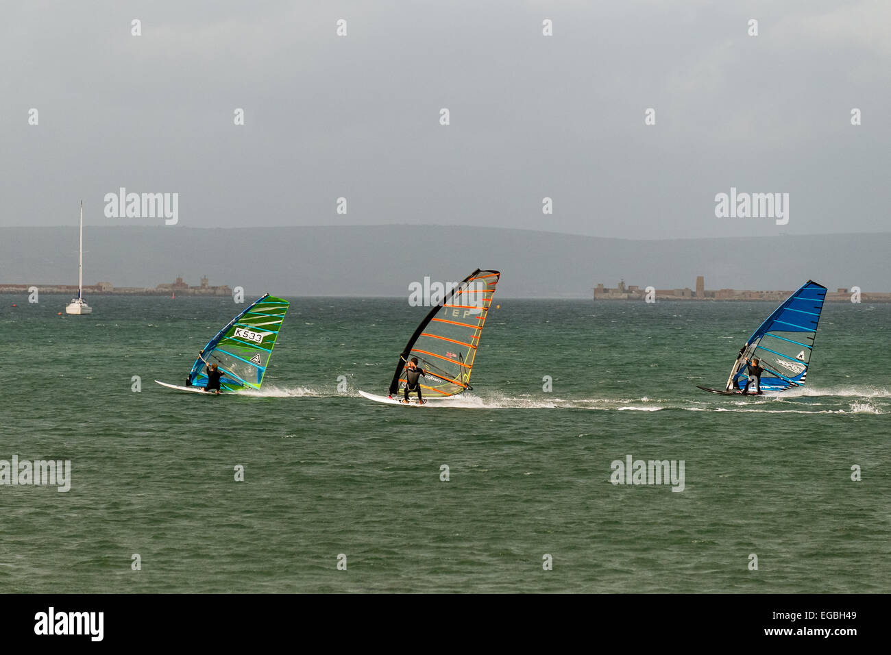 Windsurf en la bahía de Weymouth Dorset Imagen De Stock