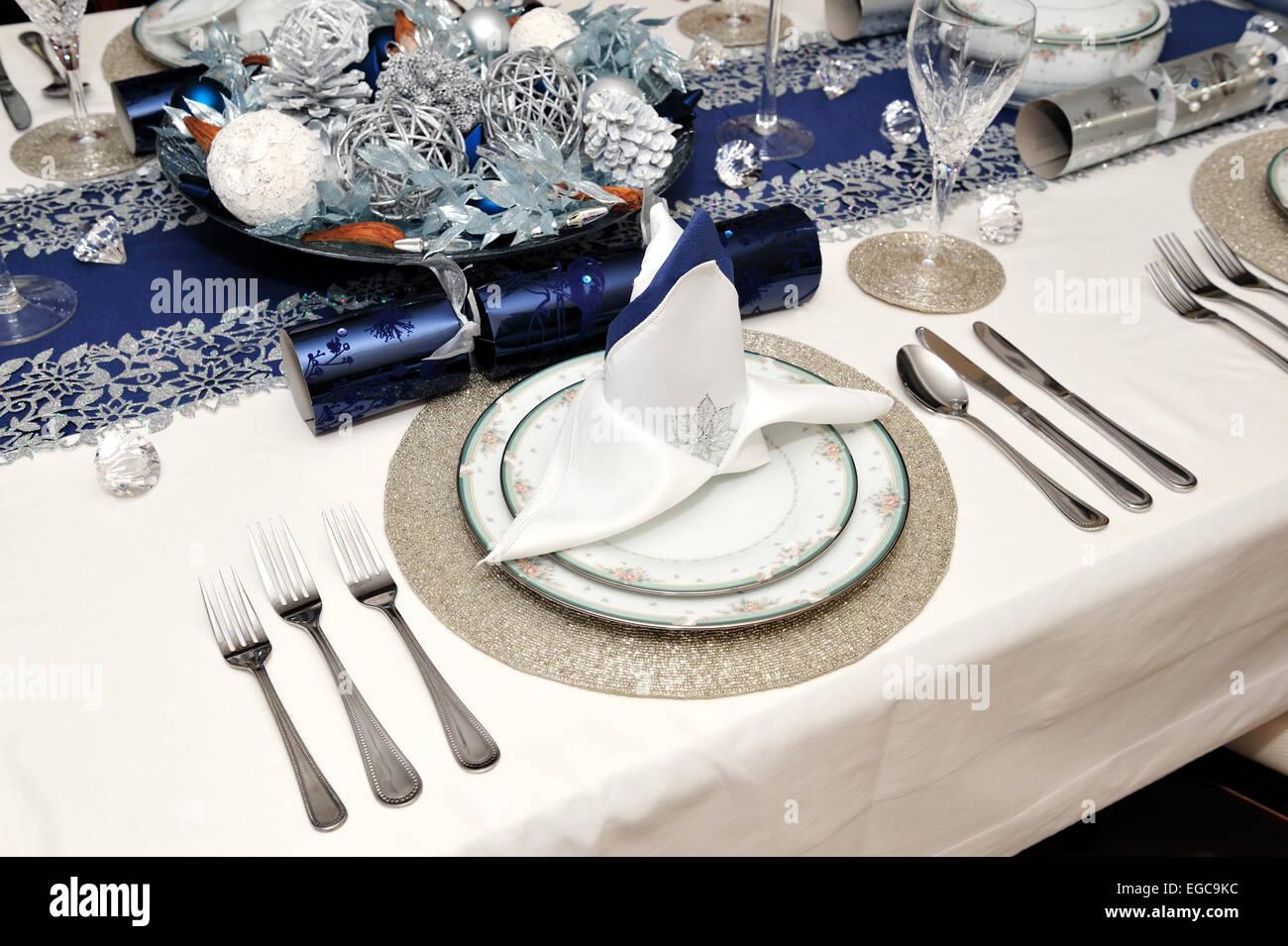Ajuste de la tabla el almuerzo, cena de Navidad Foto de stock