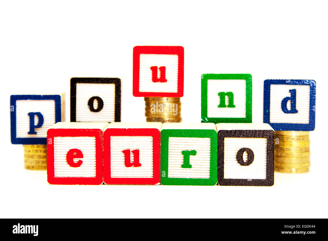 Libra vs euro tasas cambiarias monedas pounds euros recorte recorte espacio copia fondo blanco Foto de stock