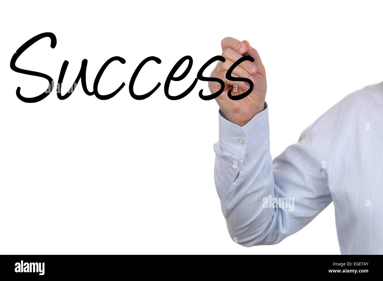 Empresario escrito el éxito comercial con sus manos. Foto de stock