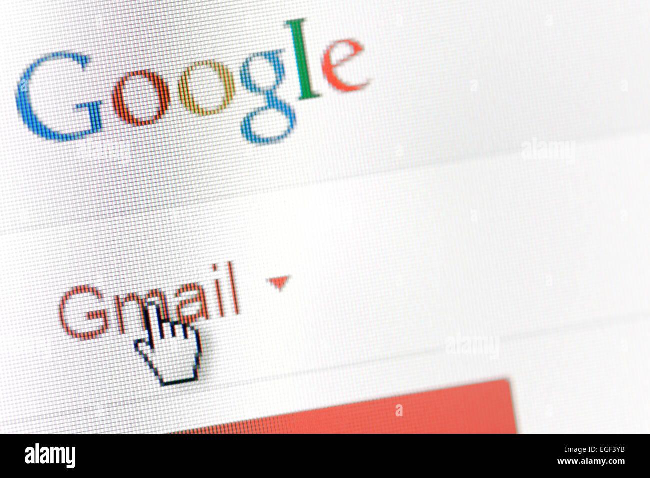 Galati, Rumania, 24 de febrero de 2015: detalle de la página de inicio de Google Mail en la pantalla de un Imagen De Stock