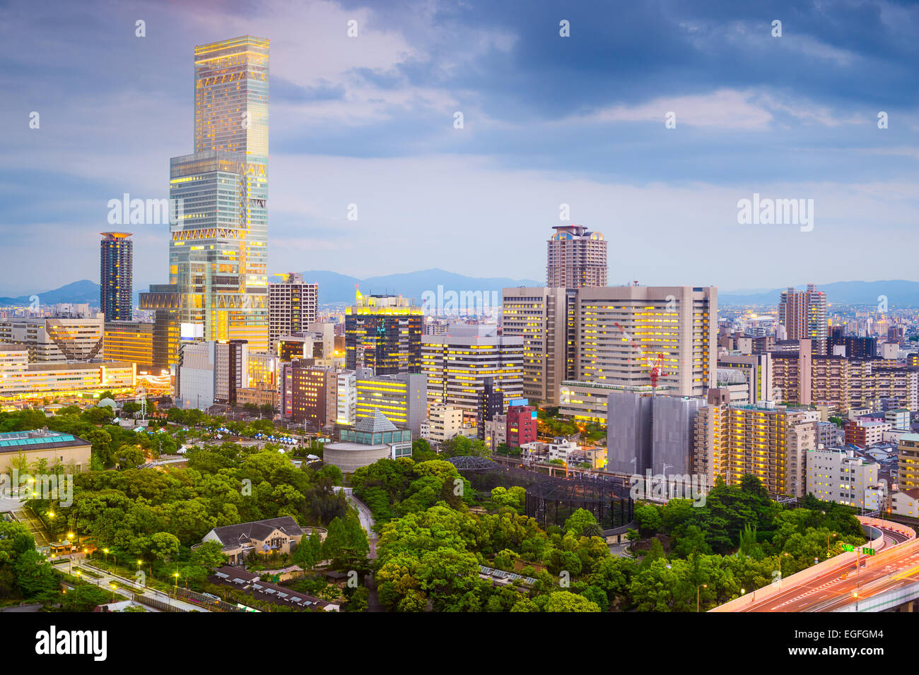 Osaka, Japón, del paisaje urbano en el distrito Abeno. Imagen De Stock