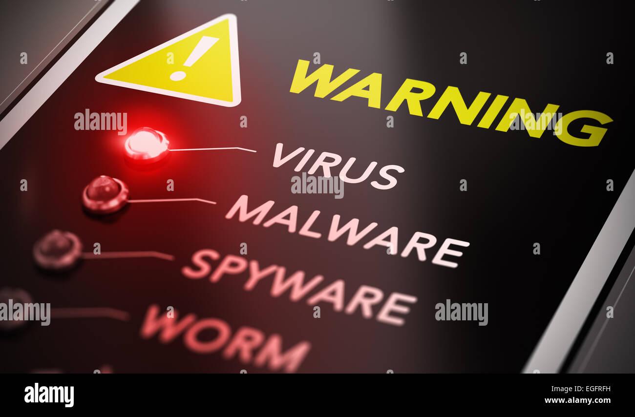 Concepto de ataques de virus. Panel de control con luz roja y un mensaje de advertencia. Imagen conceptual símbolo Imagen De Stock