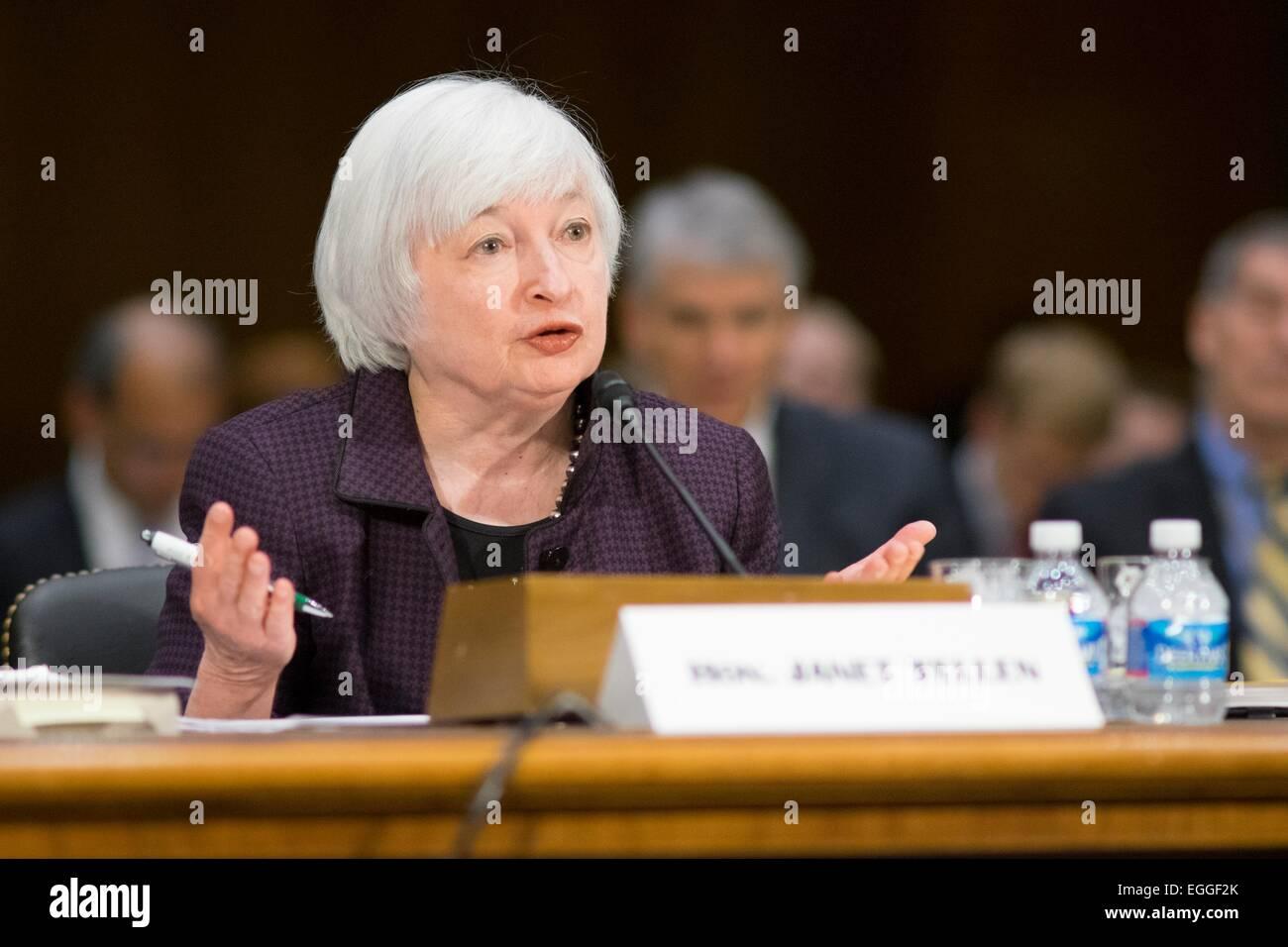 La Reserva Federal de EE.UU. Presidenta Janet Yellen presenta el Informe de Política Monetaria, durante una declaración Foto de stock
