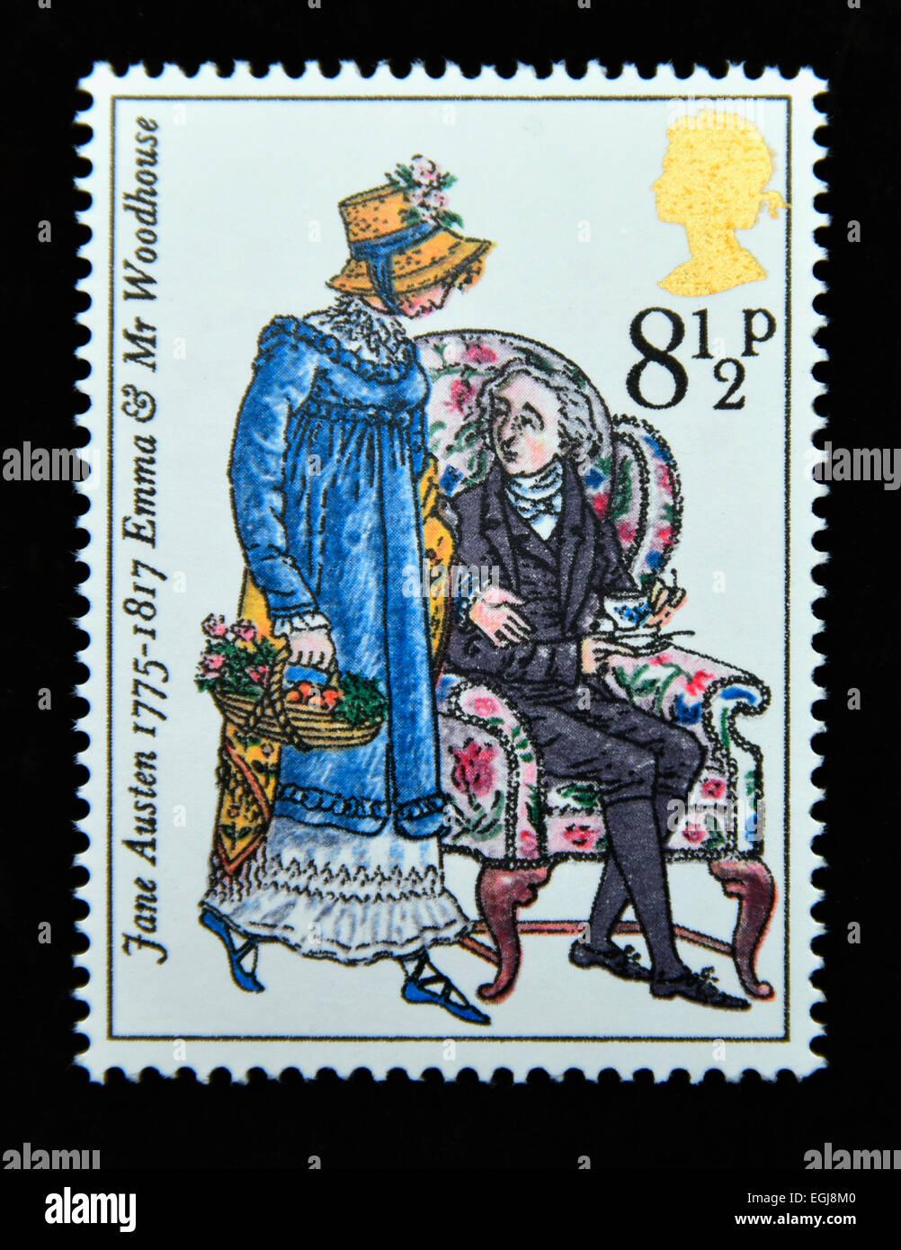 Sello de correos. Gran Bretaña. La reina Isabel II. 1975. Bicentenario del nacimiento de Jane Austen (Novelista). Imagen De Stock
