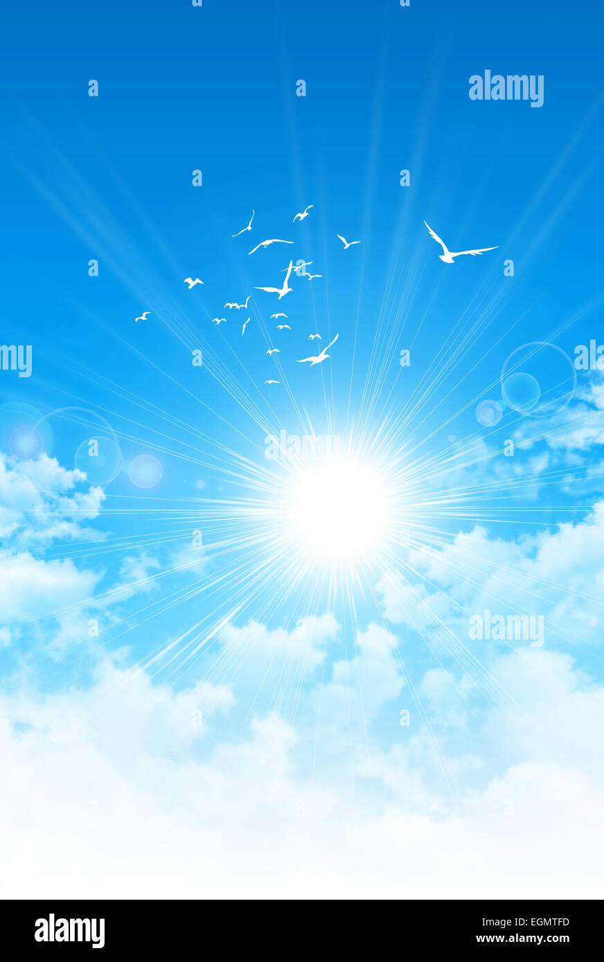 Amanecer de primavera. El sol rompiendo las nubes blancas. Las aves de alto vuelo en el cielo azul Foto de stock