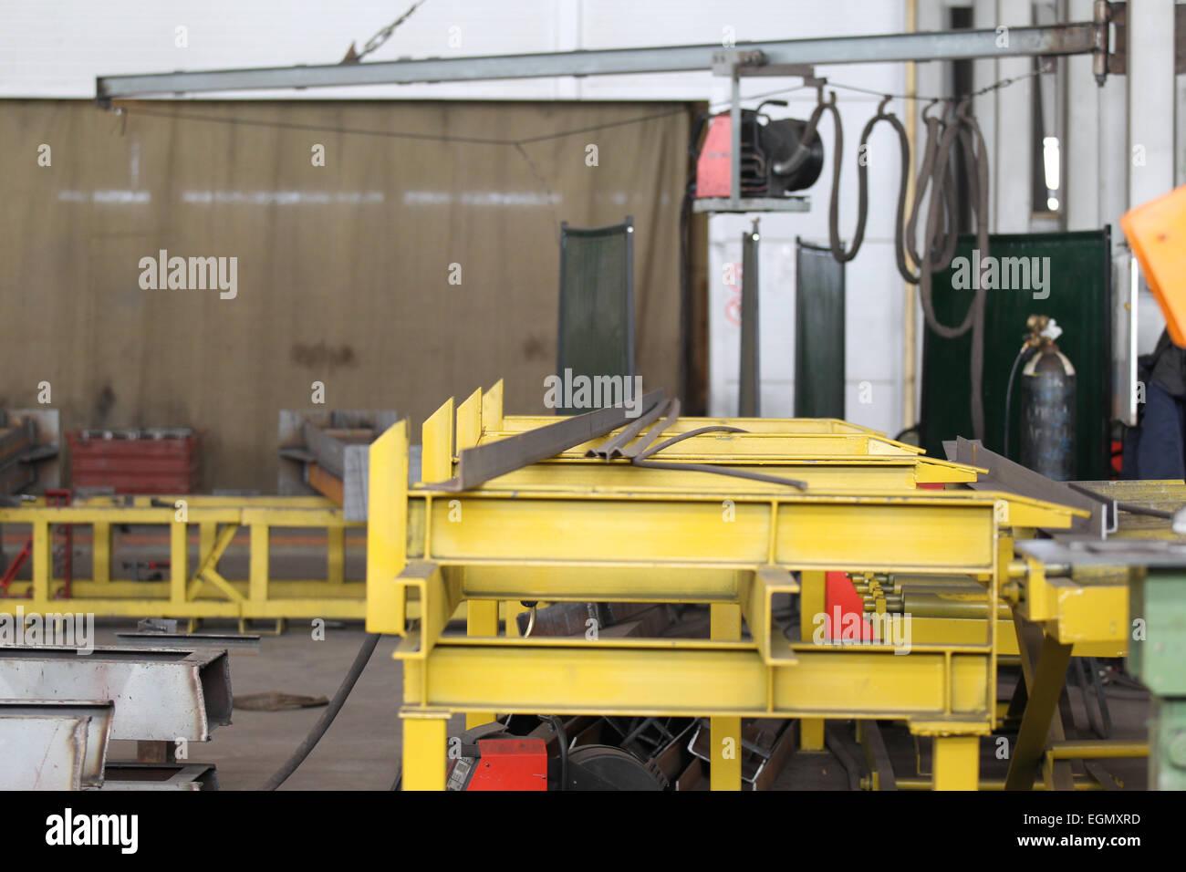 Lugar de montaje y fabricación de estructuras metálicas Imagen De Stock