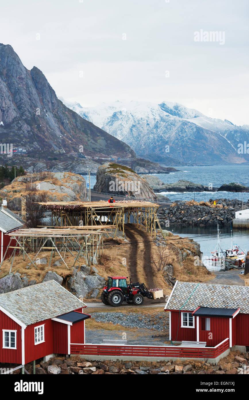 Europa, Escandinavia, Noruega, Islas Lofoten, Moskenesoy, aldea Sakrisoy Imagen De Stock