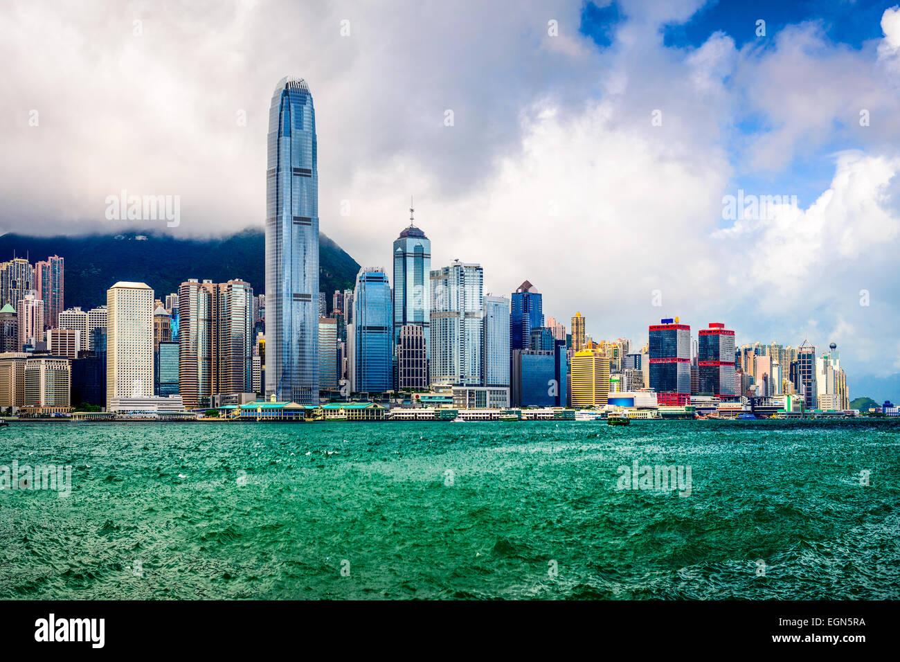 Hong Kong, China, el horizonte de la ciudad. Imagen De Stock
