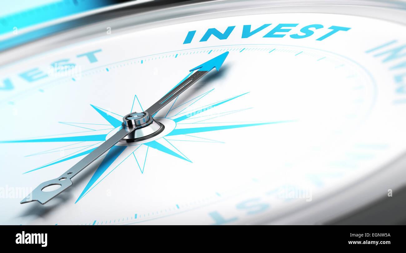 Brújula conceptual con la aguja apuntando hacia la palabra invertir. Imagen de fondo empresarial. Concepto financiero. Foto de stock