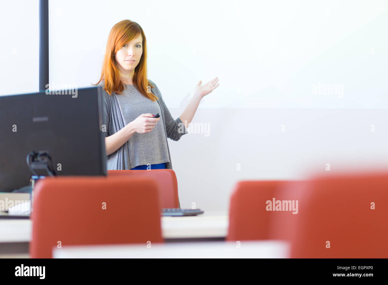 La empresaria dando una charla. Imagen De Stock