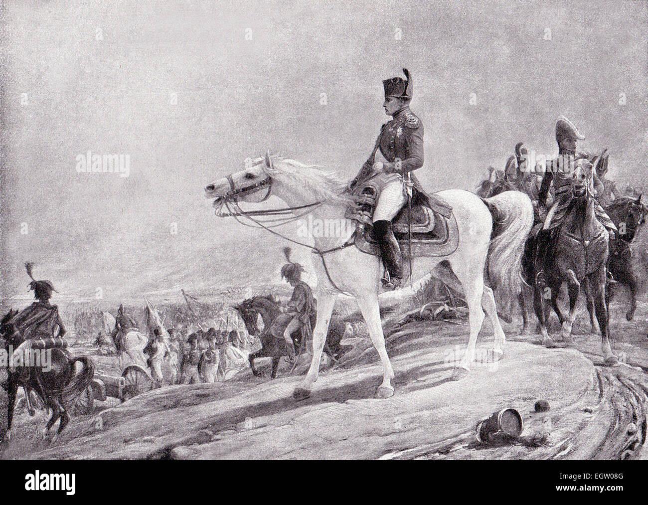 Grabado de Napoleón en el campo de Waterloo, en 1815, de una pintura de L. Royer. Imagen De Stock