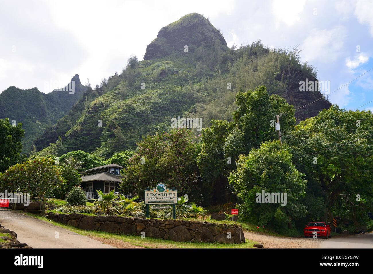 Entrada al jardín Limahuli y preservar, Kauai, Hawaii, EE.UU. Foto de stock