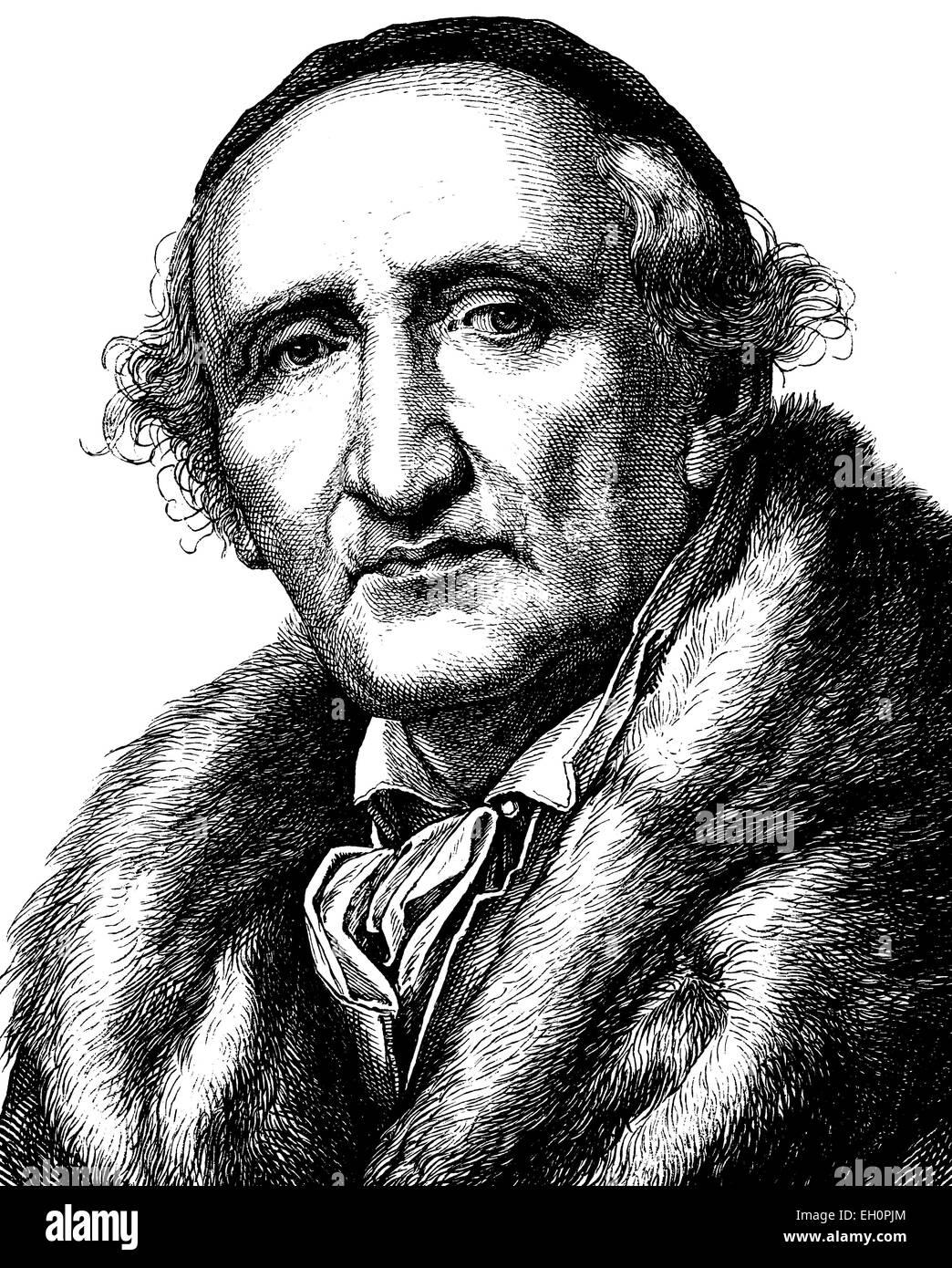 Mejora de la imagen digital de Johann Gottfried Schadow, 1764 - 1850, retrato, ilustración histórica, 1880 Foto de stock