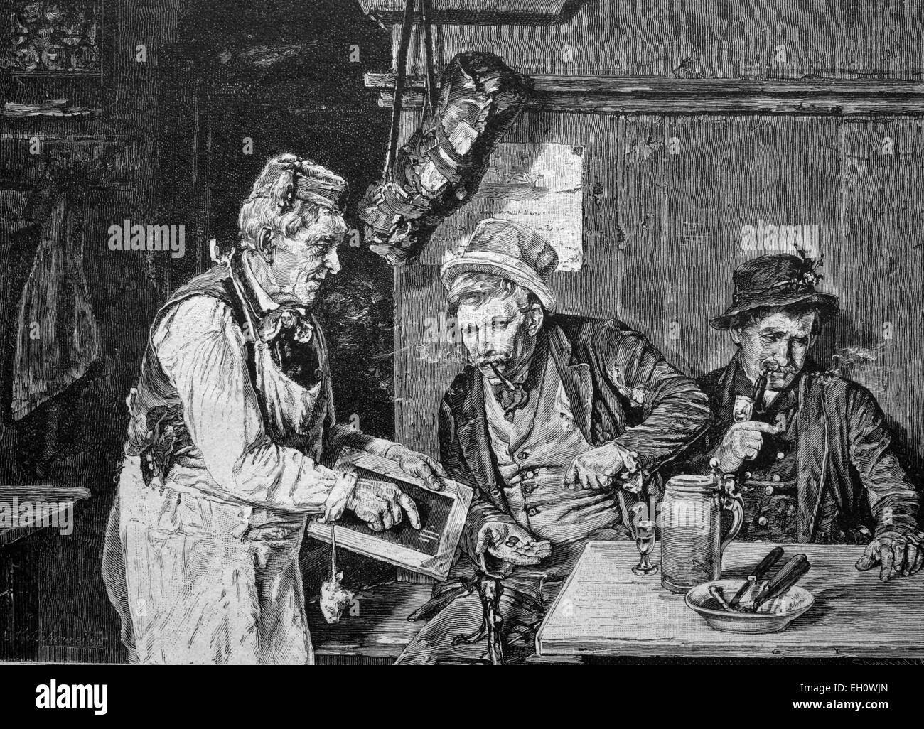 Beber compañeros pagando sus deudas, ilustración histórica, circa 1886 Imagen De Stock