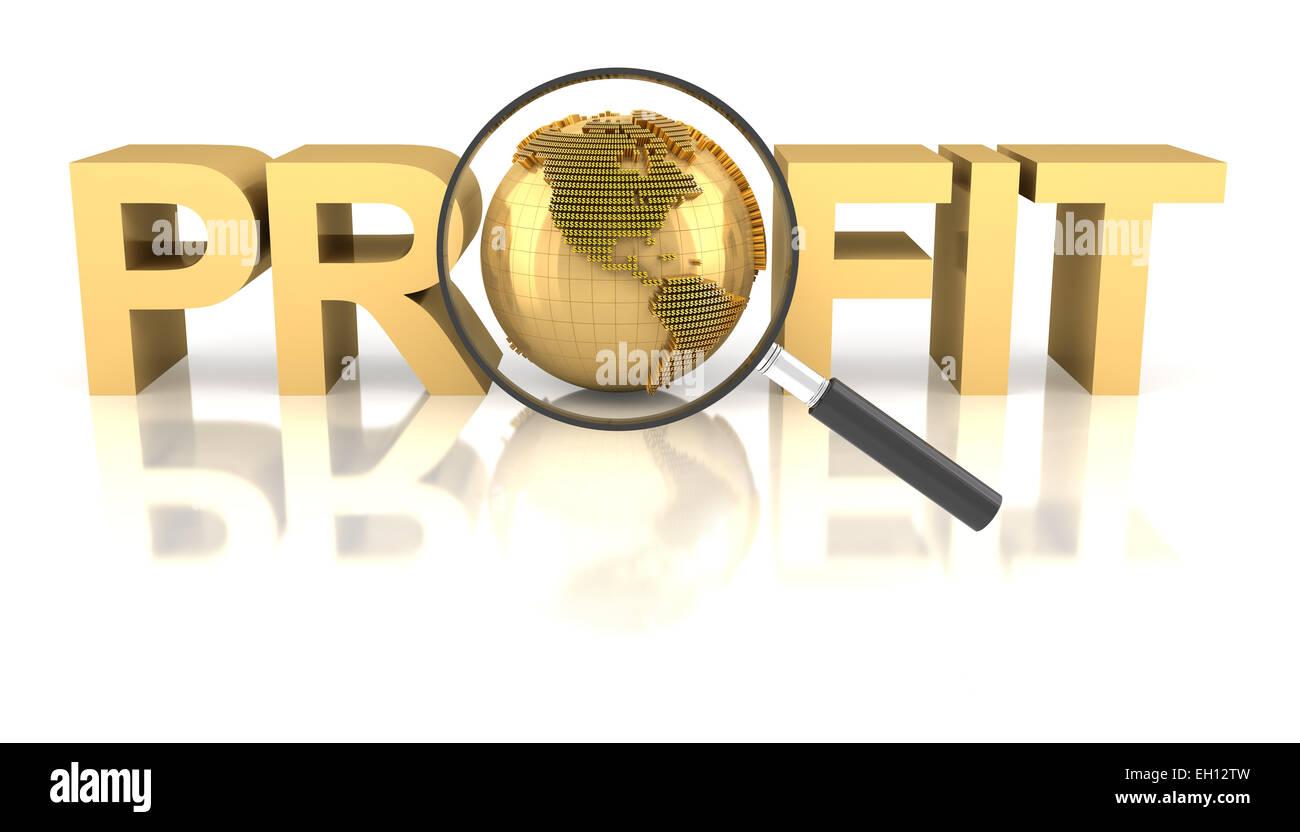 Palabra de beneficio con el Golden Globe y lupa Imagen De Stock