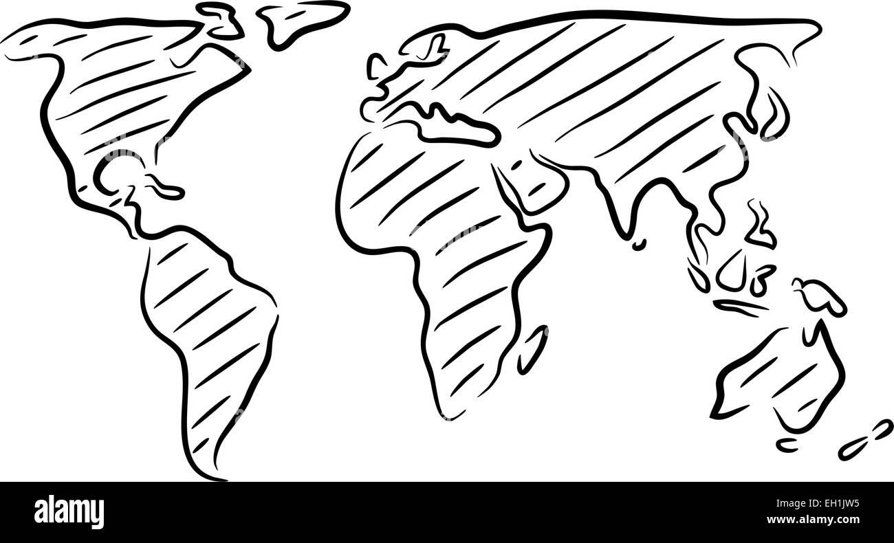 esbozo vectorial editable boceto de un mapa del mundo ilustraci n del vector imagen 79327393. Black Bedroom Furniture Sets. Home Design Ideas